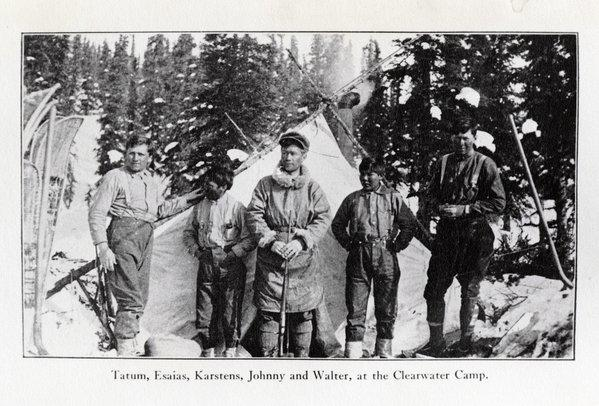 Robert Tatum, porter Esaias, Harry Karstens, porter Johnny and Walter Harper at the Clearwater Camp during the historic ascent of Mt. McKinley 100 years ago.