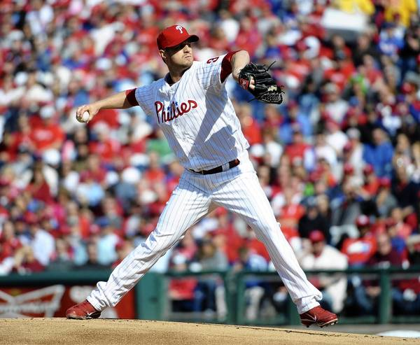 Philadelphia Phillies starting pitcher Kyle Kendrick (38) pitches during the first inning of a game against the Kansas City Royals on opening day at Citizens bank Park.