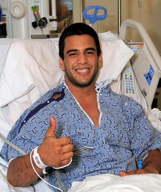 Rescued hiker Nicolas Cendoya from his hospital room in Mission Viejo on Friday.