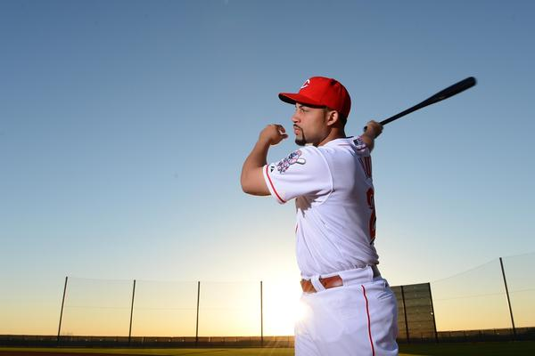 Cincinnati Reds left fielder Xavier Paul (26) poses for a photo during photo day at the Reds Spring Training Facility.