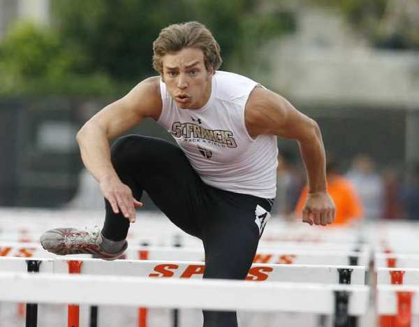 St. Francis High's Caleb Simmeth won the 110-high hurdles in 15.30 seconds at the Tiger Track and Field Invite at South Pasadena High.