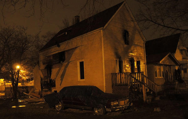 The scene of a fire early Saturday morning in the 2000 block of West 68th Place in the West Englewood neighborhood.