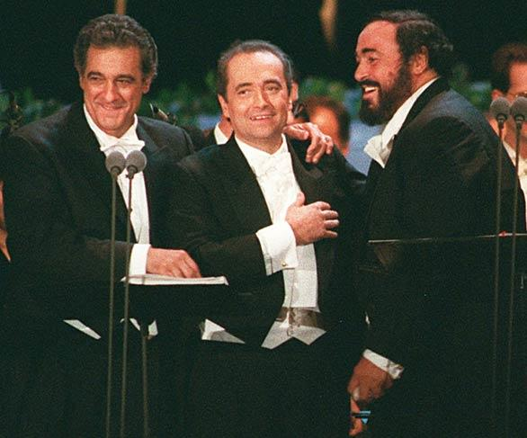 The Three Tenors, Placido Domingo, left, Jose Carreras and Luciano Pavarotti, sang at Dodger Stadium in 1994.