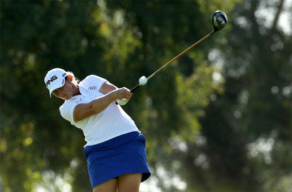 Angela Stanford hits her tee shot on the 16th hole during Friday's round of the Kraft Nabisco Championship.