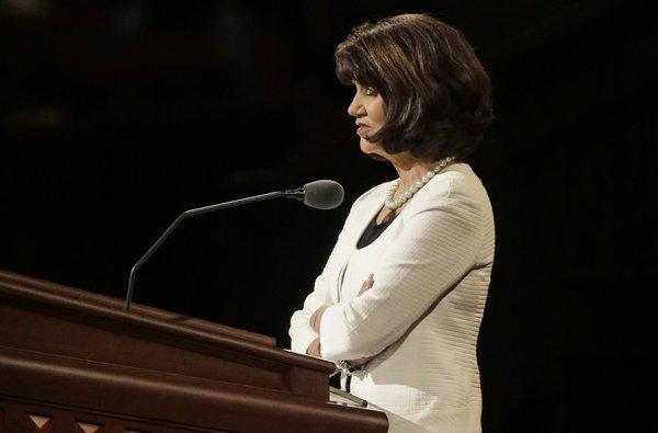Jean A. Stevens conducts the morning session's closing prayer during the 183rd Annual General Conference of the Church of Jesus Christ of Latter-day Saints in Salt Lake City.