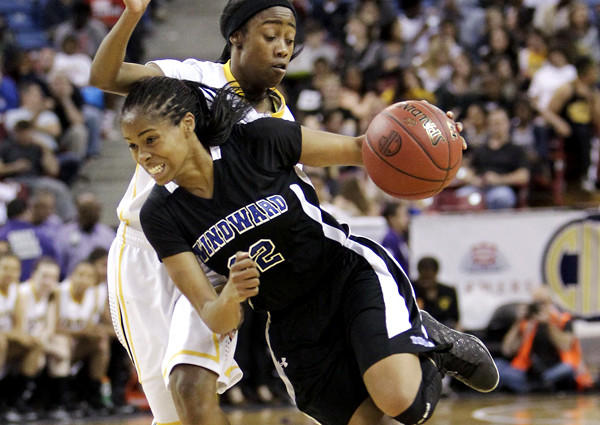 Windward guard Jordin Canada, drives against Bishop O'Dowd guard Troye Mosley in the third quarter of the CIF Open Division championship game.