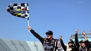 Johnny Sauter grabbed the lead from rookie polesitter Jeb Burton with 17 laps left in Saturday's Kroger 250 NASCAR Camping World Truck Series race at Martinsville Speedway and pulled away to keep his 2013 perfect record intact.