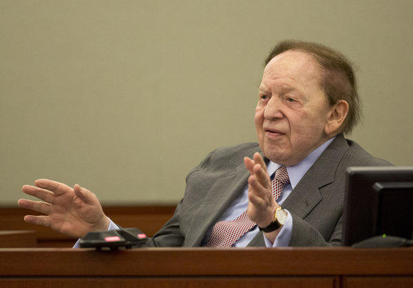 Sheldon Adelson, chief executive of Las Vegas Sands Corp., testifies for a second day in a civil case being heard in Clark County District Court in Las Vegas.