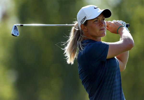 Suzann Pettersen hits her tee shot on the 17th hole during the second round.