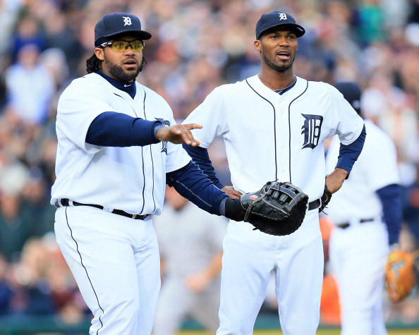 DETROIT, MI - APRIL 06: Prince Fielder #28 and Al Alburquerque #62 of the Detroit Tigers look to the first base umpire for a call against the New York Yankees at Comerica Park on April 6, 2013 in Detroit, Michigan. (Photo by Dave Reginek/Getty Images)