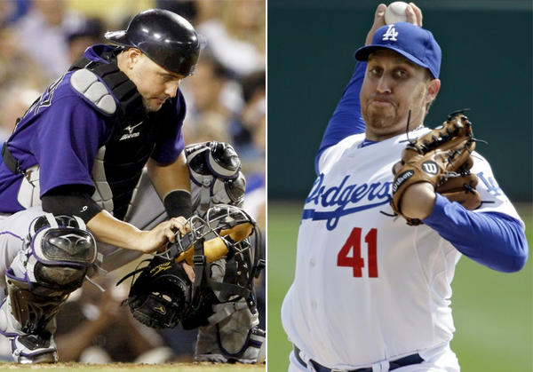 Dodgers acquired veteran catcher Ramon Hernandez from the Colorado Rockies in exchange for pitcher Aaron Harang.