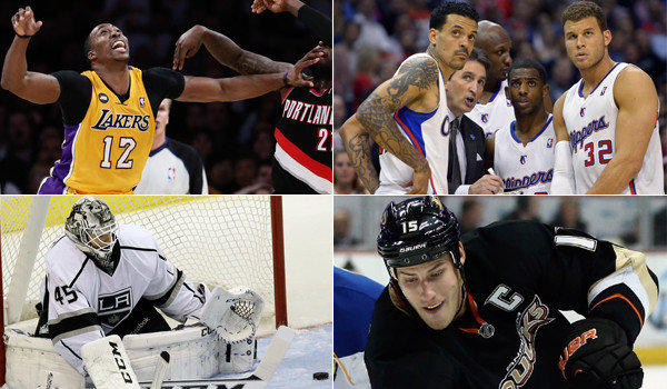 Clockwise from top left: Dwight Howard and the Lakers are struggling just to make the playoffs; the Clippers -- including Matt Barnes, left, Coach Vinny Del Negro, Lamar Odom, Chris Paul and Blake Griffin -- have won the most games in team history; backup goalie Jonathan Bernier has helped the Kings turn their season around; Ducks captain Ryan Getzlaf is playing more like himself this season.