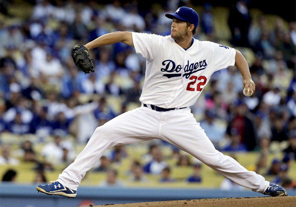 Dodgers ace Clayton Kershaw pitched seven scoreless innings.