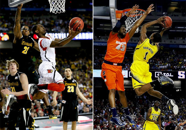 Left: Louisville's Russ Smith drives for a shot attempt. Right: Michigan's Glenn Robinson III (1) shoots over Syracuse's James Southerland.