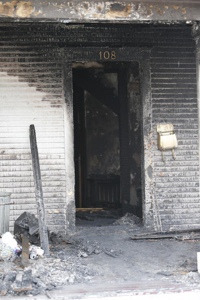 The front door entryway of a house fire at 108 Ninth Avenue Southeast Saturday morning. The blaze is under investigation. American News Photo by John Davis