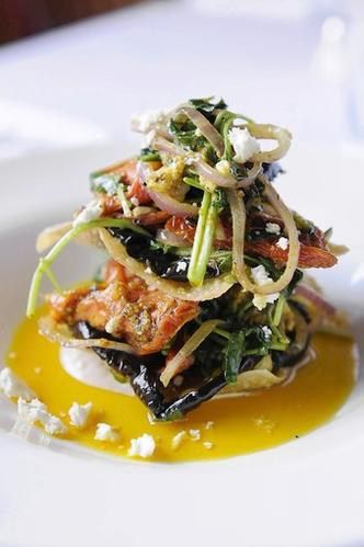 Eggplant and wenton napoleon can be found at Arugula Bistro in West Hartford Center.