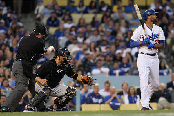 Matt Kemp gets called out on strikes by home plate umpire Gerry Davis during the Dodgers' 1-0 victory over Pittsburgh on Saturday night.