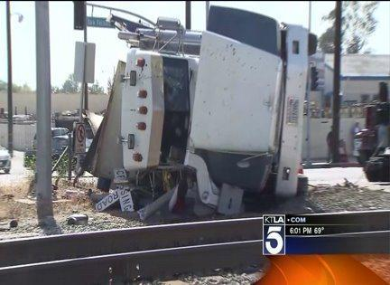 The collision of a Metrolink train and a dump truck left wreckage along the track in Pacoima.