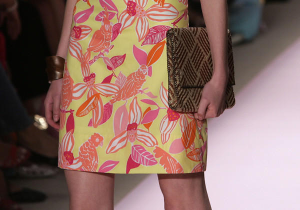 A model walks down the runway at the Lilly Pulitzer Couture Spring 2005 fashion show during the Olympus Fashion Week Spring 2005.