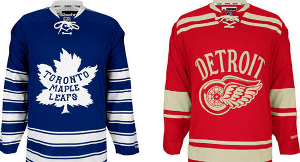 The NHL released the look of the retro jerseys the Toronto Maple Leafs and Detroit Red Wings will wear during the 2014 Winter Classic on New Year's Day.