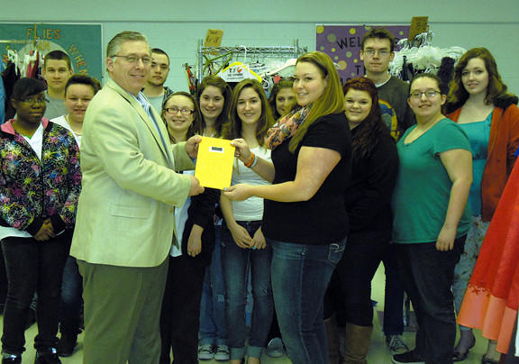 Skills USA students at Washington County Technical High School recently donated $2,316 to the Humane Society of Washington County from proceeds from its annual Cinderella's Closet. Front row, from left, Michael Lausen, shelter director, and student Catie Jeter. Back row, from left, students Alisa Stevenson, Jackson Barrick, Holly Nalley, Austen Dietrich, Cheyanne Morgan, Victoria Horman, Kelsey Cooper, Victoria Fitzwater, Lacey Smith, Ian Burnett, Megan Barber and Sky Whitmore.