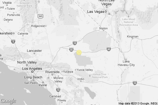 A map shows the approximate location of the epicenter of Sunday afternoon's quake near Joshua Tree.