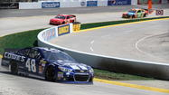 Jimmie Johnson pulled away on a restart with eight laps to go and won the NASCAR Spring Cup Series race at Martinsville Speedway on Sunday.