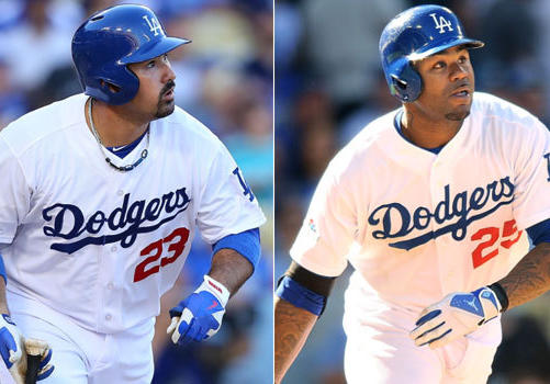 Dodgers first baseman Adrian Gonzalez hits a single to center to drive in Nick Punto and Matt Kemp in the first inning.