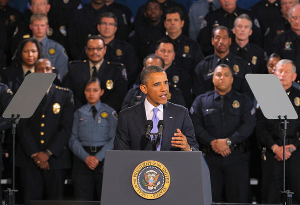 President Barack Obama addresses gun control issues during a speech at the Denver Police Academy on April 3. Obama commended Colorado's newly passed gun control laws. He's scheduled to make a similar speech at the University of Hartford on Monday April 8.