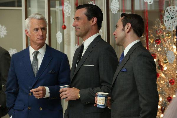 """Roger Sterling (John Slattery), Don Draper (Jon Hamm) and Pete Campbell (Vincent Kartheiser) in """"Mad Men."""""""