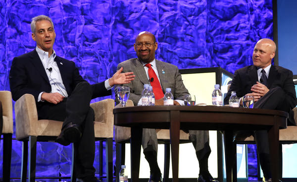 From left, Chicago Mayor Rahm Emanuel, Philadelphia Mayor Michael Nutter and New Orleans Mayor Mitch Landrieu, talk about the issues of safety facing cities at the Council on Foundations annual conference held at the Hilton Chicago, Sunday.