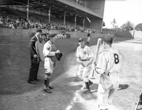 "Gary Cooper, center, during filming of ""The Pride of the Yankees"" in 1942."