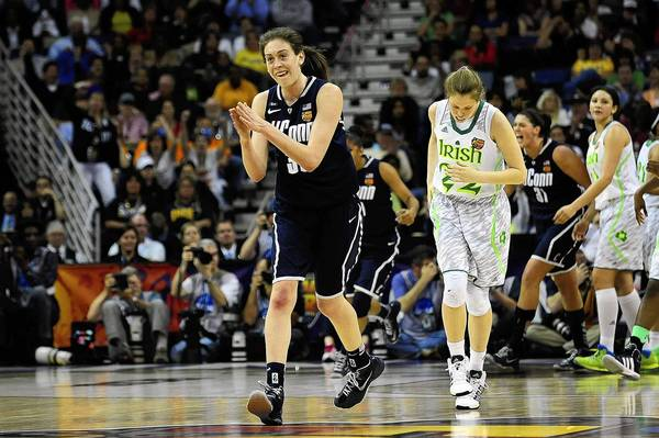 Breanna Stewart (30) of the Connecticut Huskies reacts during the win over Notre Dame.