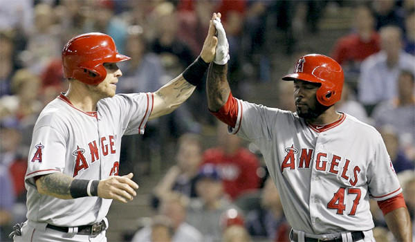 Josh Hamilton was 3-of-5 hitting for the Angels with a run scored in L.A.'s 7-3 loss to the Texas Rangers on Sunday.