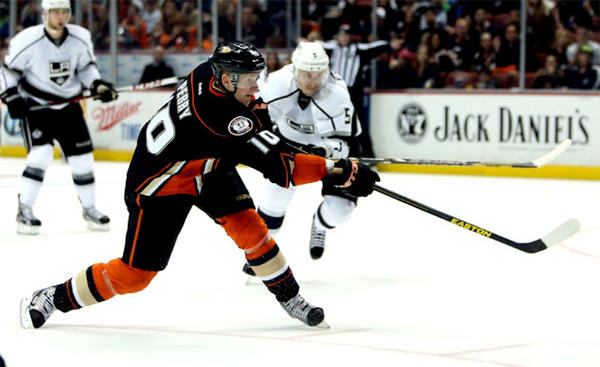 Ducks' Corey Perry fires the puck to score a goal in the second period against the Kings.