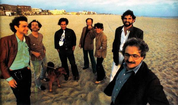 Seven of the architects who participated in the Architecture Gallery, from left: Frederick Fisher, Robert Mangurian, Eric Owen Moss, Coy Howard, Craig Hodgetts, Thom Mayne, and Frank Gehry at Venice Beach, 1980