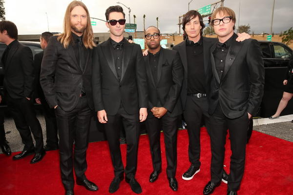 PJ Morton (center) and his Maroon 5 band mates attend the Grammy Awards at the Staples Center Feb. 10, 2013 in Los Angeles.
