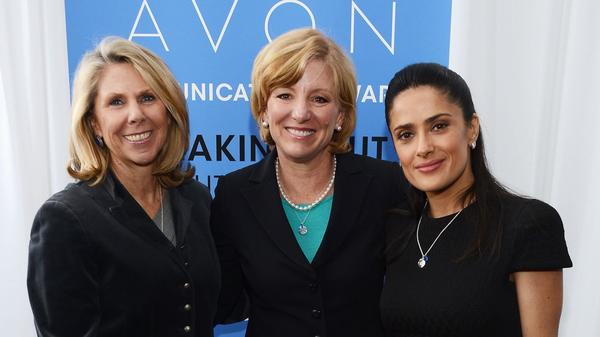 Avon Foundation President Carol Kurzig, from left, Avon Products, CEO Sheri McCoy and Avon Foundation Ambassador Salma Hayek Pinault at the second Avon Communications Awards last month at the United Nations Headquarters.