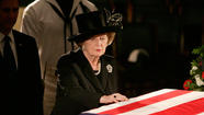 Margaret Thatcher at Reagan's casket