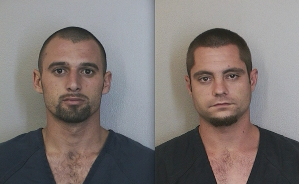Kevin Bass (left) and Gary Hrinda were arrested by Davie police after an ATM stolen from Pembroke Pines was reported as being dumped into a Davie canal.