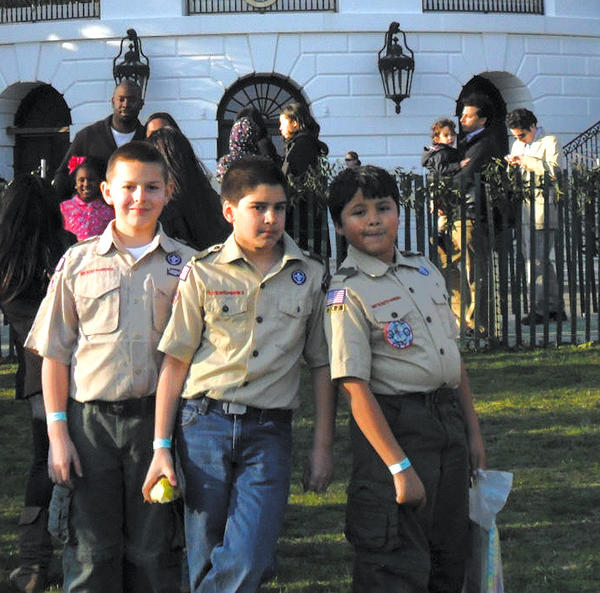 The three newest members of Boy Scout Troop 412 recently participated in the Easter egg roll at the White House in Washington, D.C., on April 1. The Scouts are, from left, Sean Maguire, Brendan Heisler and Joshua Macias.