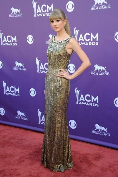 Taylor Swift in Dolce & Gabbana at the American Academy of Country Music Awards in Las Vegas.