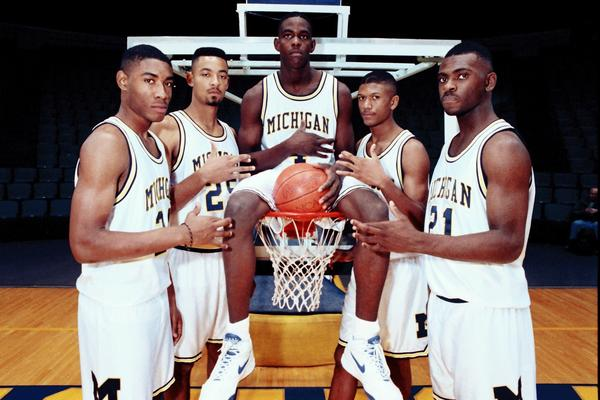 Michigan's Fab Five pose in November 1991: Jimmy King, left, Juwan Howard, Chris Webber, Jalen Rose and Ray Jackson.