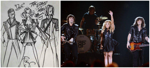 At left, Rubin Singer's costume sketches for the Band Perry. At right Neil Perry, left, Kimberly Perry and Reid Perry perform in the outfits.