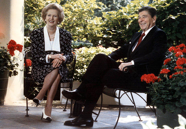 British Prime Minister Margaret Thatcher with President Reagan outside the Oval Office in Washington, D.C.