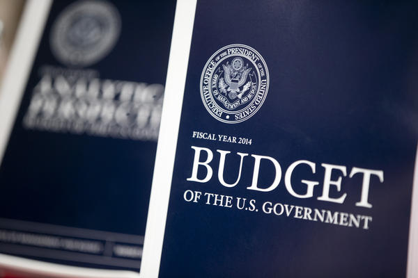 Copies of the fiscal 2014 budget sit on display at the U.S. Government Printing Office in Washington.