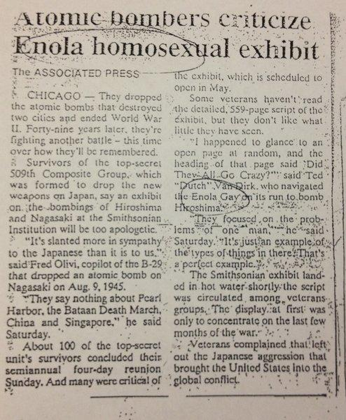 "That would be the ""Enola Gay"" to all but a too-harried copy editor."