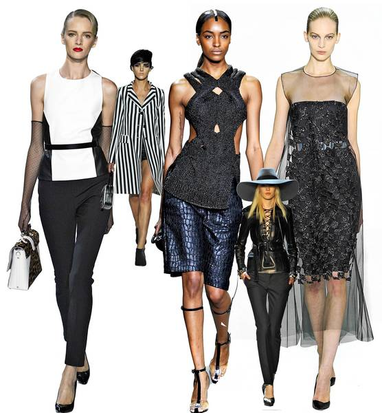(Left to right) Crisp geometrics at Jason Wu; bold stripes at Marc Jacobs; extra texture at Alexander Wang; chic leather at St. Laurent; light as air at Christian Dior.