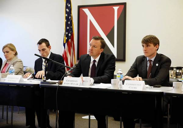 The Senate State Government and Veterans Affairs Subcommittee on Economic Development, chaired by State Sen. Andy Manar (D-48th), third from left, holds a hearing on Senate Bill 2.