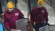 A man who wraps his face in gauze bandages and carries accessories such as a green toy moose is suspected of committing a fifth bank robbery on Sunday, according to the FBI.